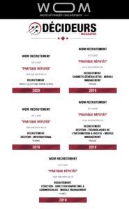 Classement du cabinet WOM dans le magazine Décideurs