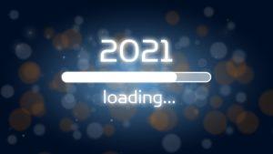 """Barre de chargement avec écrit """"2021"""" et """"loading""""."""